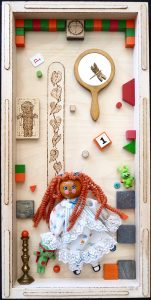 """Janet Baker, """"Alice Begins Her Day"""", 20"""" x 10"""", Mixed Media / Found Objects, NFS"""