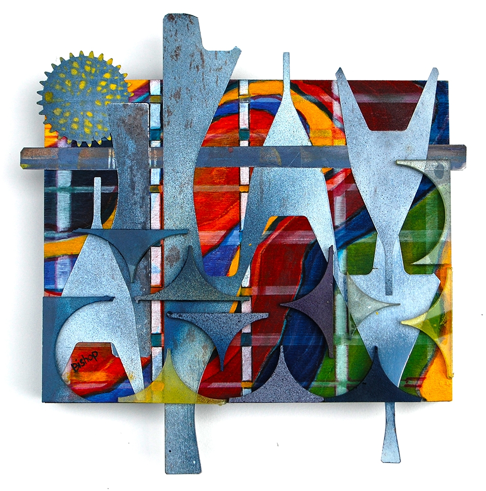 """Lynn Bishop, """"Untitled #6"""", 11"""" x 11"""", Mixed Media to include scrap off cuts of spring steel and glass $380"""