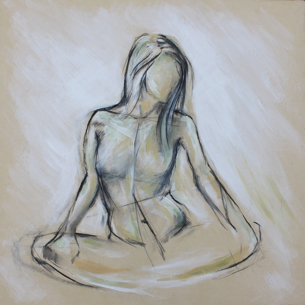 """Anne Cavanagh, """"Grounded Figure"""", 16"""" x 16"""", Charcoal and Acrylic on Panel, $400"""