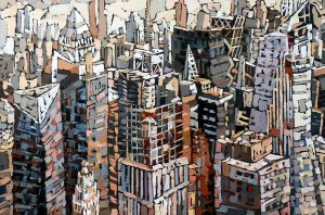 "Elizabeth Elkin, ""Urban Construction"", 24"" x 36"", Oil on Canvas, $2600"