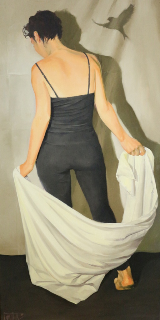 """Helen Griffiths, """"Learning to Fly"""", Oil, 40"""" x 20"""", $1,200"""