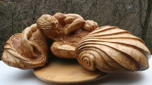 """Dorsey James, """"Poseidon's Lament"""" (View 1), 30"""" x 12"""" x 12"""", Spalted Rock Maple Wood, $10000"""