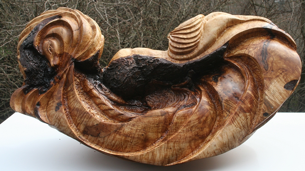 "Dorsey James, ""Poseidon's Lament"" (View 2), 30"" x 12"" x 12"", Spalted Rock Maple Wood, $10000"