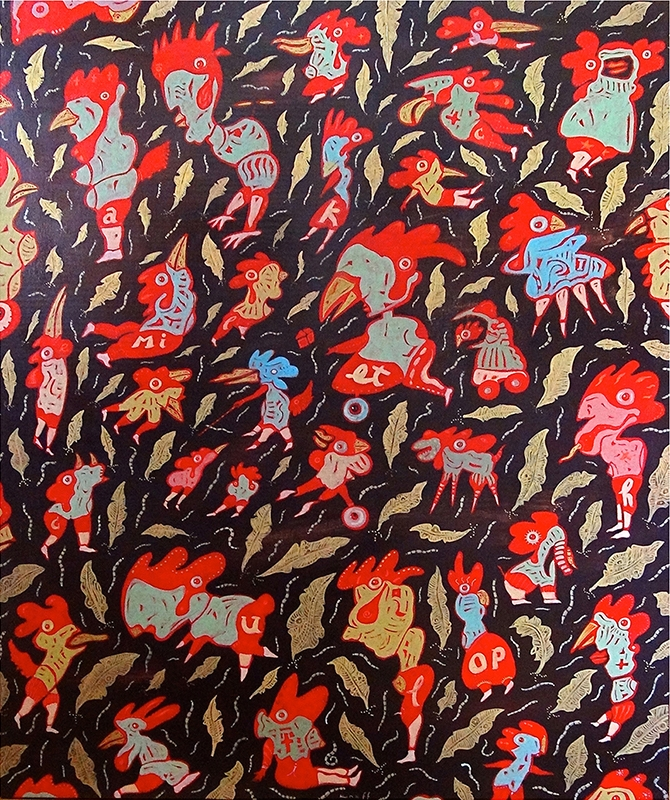 """Jean-Christian Knaff, """"The Blind Rooster"""", Acrylic on Birch Panel, 32"""" x 46"""", $4,900"""
