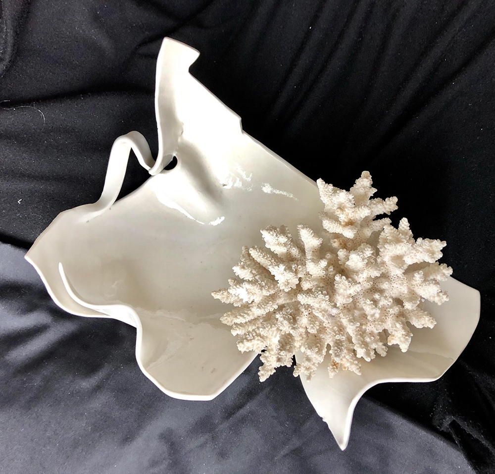 """Marilena Isacescu Carlea, """"Symbiotic Encounter"""" (View 1), 10"""" x 10"""" x 11"""", Porcelain and Found Objects, NFS"""