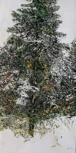 "Micheal Zarowsky, ""Overnight Snowfall"", Watercolour/Acrylic on Panel, 50"" x 25"", $2,900"
