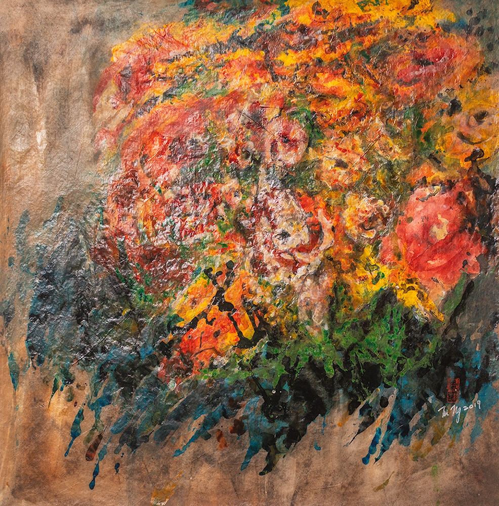 """Mary Ng, """"Spring Bouquet"""", 26"""" x 26"""", Acrylic on Rice Paper, $1500"""