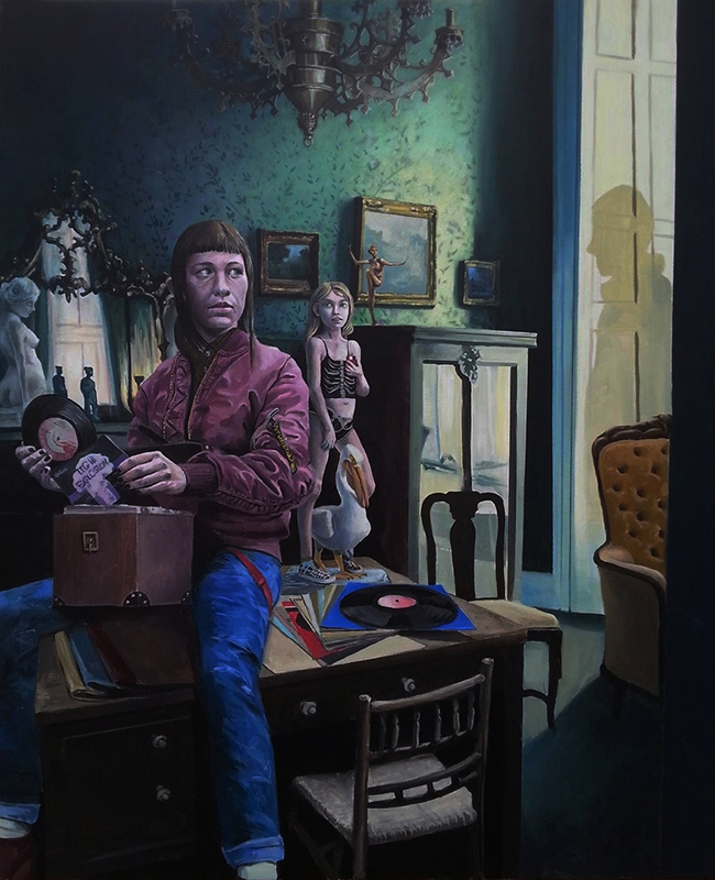 """Norman Busse, """"The Collector"""", Acrylic on canvas, 48"""" x 60"""", $5,400"""