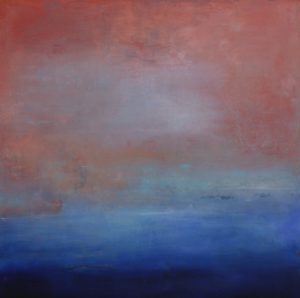 "Janet Read, ""Dawn Rise"", 40'x 40"", oil and cold wax on birch panel"