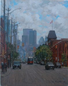 "Giuseppe Pivetta, ""King St. W @ Dufferin"", 14"" x 11"", Oil Paint on Hardboard, SOLD"