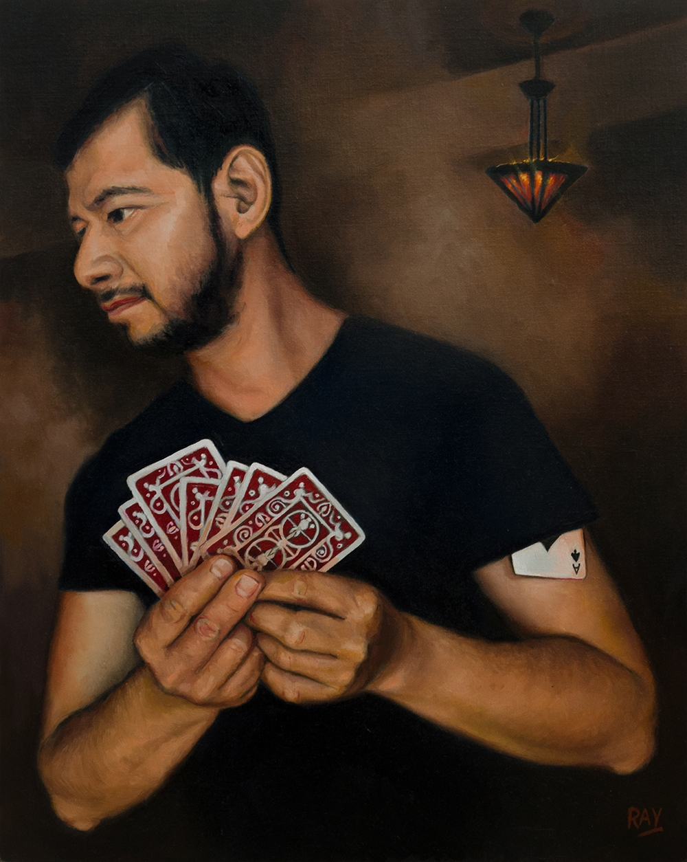 "Alan Ray, ""The Card Sharp"" , 20""x16"", Oil on Panel,, $1920"