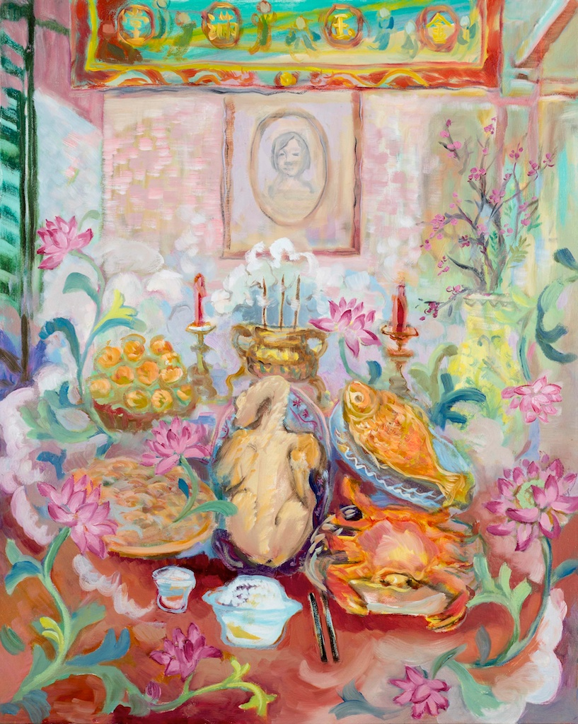 "Rosalie Lam, ""Feeding Memory"", Oil on Stretched Canvas, 30"" x 24"", $3,000"