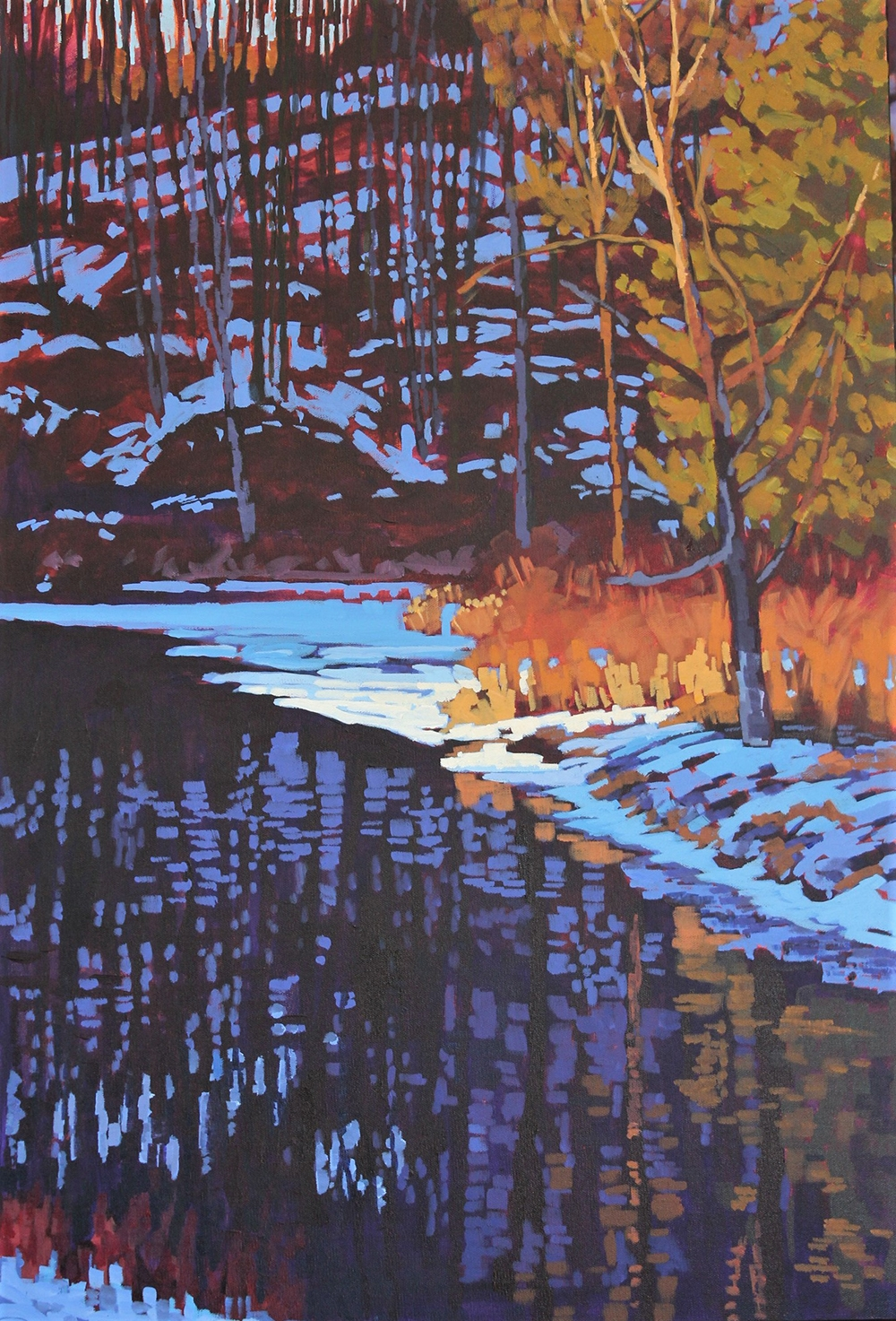 "Barb Sohn, ""Last Light"" , 36"" x 24"", Acrylic on Canvas, $1500"