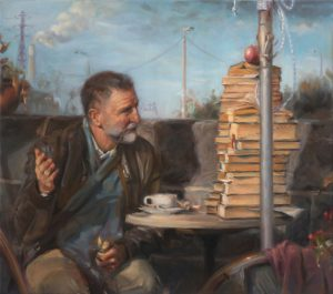 "Steven Volpe OSA, ""Balzac's Cafe"", Oil on Canvas, 32.5"" x 36.75"", $4,400"