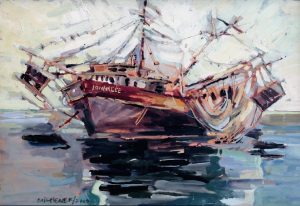 """Ted Michener, """"The Lonnilee Trawler"""", Oil on Masonite, 17""""x 21"""", $2,200"""