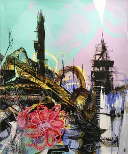 """Teodora Pica, """"City Works #4"""", Mixed media on Canvas, 72"""" x 60"""", $9,000"""
