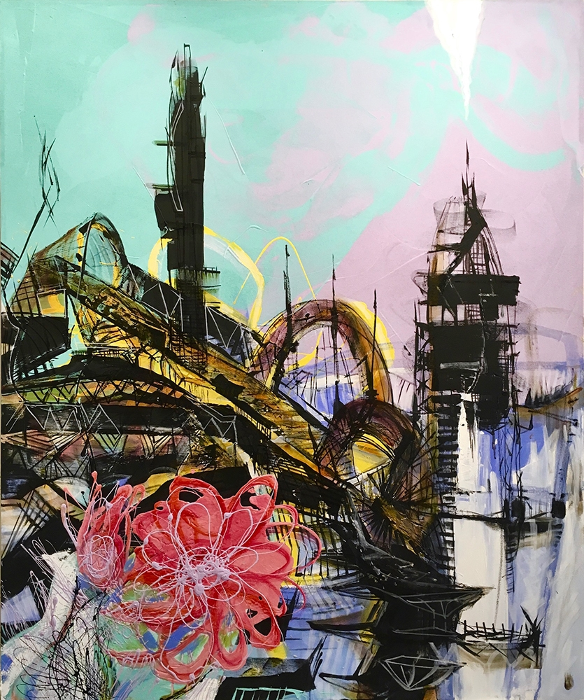 "Teodora Pica, ""City Works #4"", Mixed media on Canvas, 72"" x 60"", $9,000"