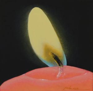 "Michael Walker, ""Flame"" , 6"" x 6"", oil on gilded mylar, $1400"