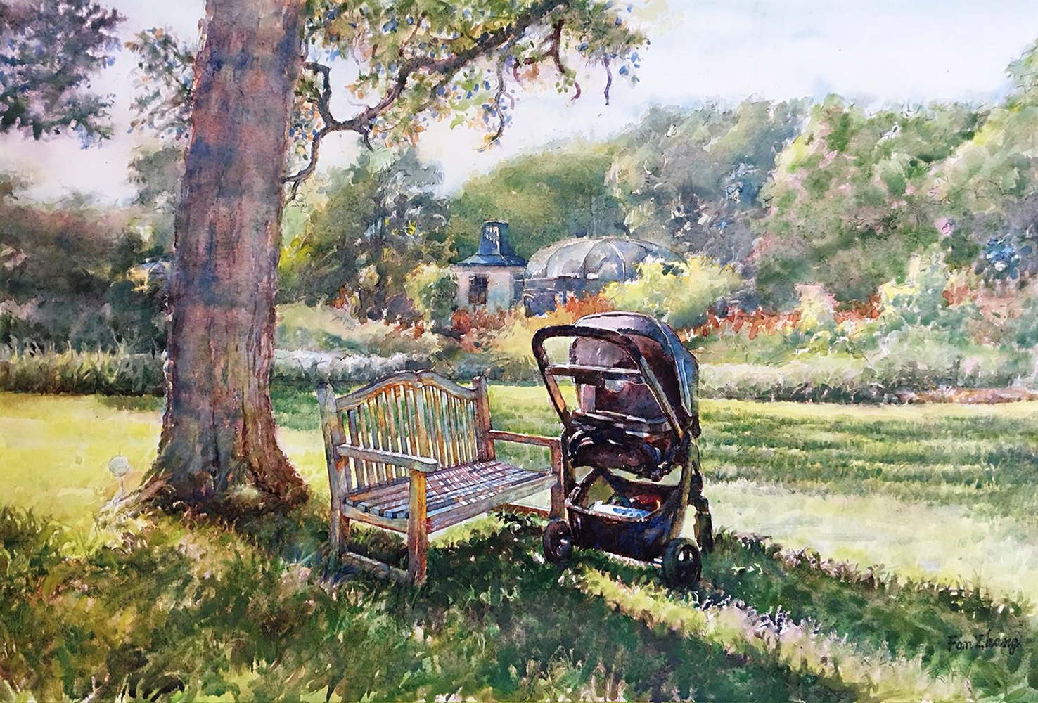 "Fan Zhang, ""Charlotte's Stroller"" , 17.3"" x 26"", Watercolor, NFS"