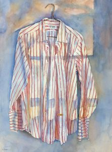 "Linda Finn, ""His Favourite Shirt"", 30"" x 22"", Watercolour on Paper, $1500"